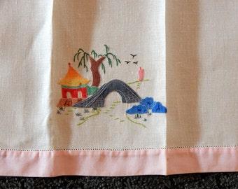 Vintage Hand Towel Embroidered Garden Japanese Home Decor