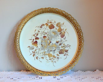 Vintage Tray Gold Metal Serving Tray Ivory Painted Flowers Tole Tray