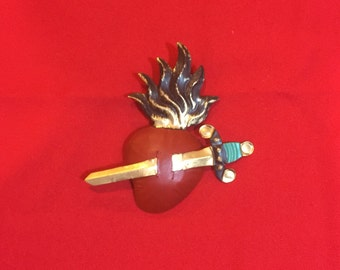 Flaming sacred Heart Pierced by Sword