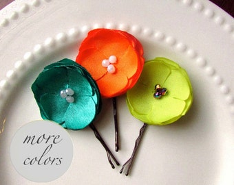 PICK 3 Small Silk Fabric Flower Hair Clips, Floral Hair Pins Boho Hair Flower bobby Pin, Tangerine Orange, Jade Green, Neon Yellow, Hairpins