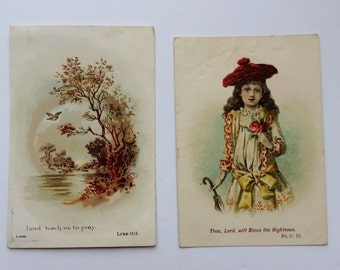Antique Prayer Cards Set of Two Religious Pocket Cards Victorian Prayer Cards Scrapbooking Vintage Ephemera