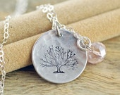 Valentines Day Gift Hand Stamped Jewelry - Personalized Necklace - Hand Stamped Pewter Necklace - Family Tree Necklace - Family Tree Birthst