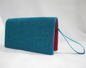 Harris Tweed clutch bag with detachable wristlet, handmade in teal green and turquoise wool herringbone, optional personalisation