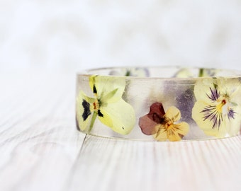 Pansy Flowers bracelet - Epoxy resin bracelet - Purple flower viola Bracelet