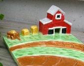 Handmade Ceramic Soap Dish - Red Barn and Haybales