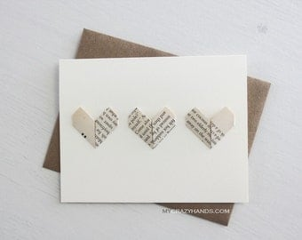 origami love card || origami heart greeting card || anniversary card || wedding card | A2 card with envelope -3 vintage hearts