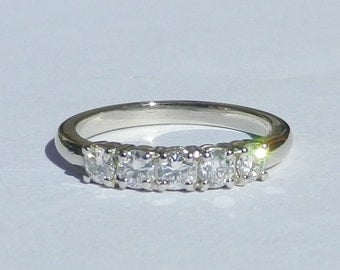 Natural Untreated .50 Carat Diamond 5 Stone Ring 14kt Solid Gold W/ GIA G.J.G. Appraisal