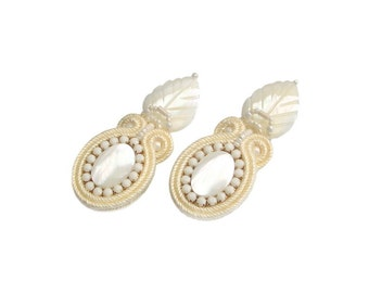 Wedding Soutache earrings - perfect for the Bride, very elegant, eyecatching and classy Handmade Jewelry - Underwater Leaves