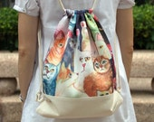 Drawstring backpack/ Cotton backpack/ Drawstring bag/ handmade backpack/ Gym bag/ Swim bag ~ Lovely cats (B40)