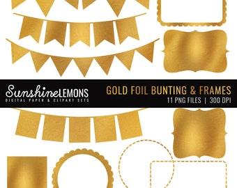 Gold Foil Clipart Frames and Bunting - Goldfoil Clipart - Gold Frames - Digital Clipart - Instant Download - Set of 11 PNGs - COMMERCIAL USE