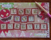 Love Card Wedding Birthday Shower Anniversary Blank Love You Forever Pink Red Mixed Media Art Print