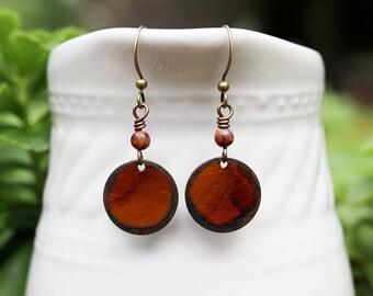 Mixed Media Earrings Mixed Media Jewelry Brown Gemstone Earrings Brown Jewelry Recycled Repurposed Rustic Earrings Fall Autumn