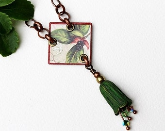 Botanical Mixed Media Necklace, Mixed Media Jewelry, Red Necklace, Short Pendant Necklace, Crystal, Beaded Jewelry, Red, Green Necklace