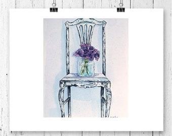Lavender Art Print, Flower Print, Botanical Art, Garden Illustration, Watercolor Print, Pink Print, Wall Decor, Home Decor