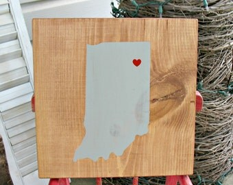 State Map Heart Silhouette Wall Art Sign - Indiana Bicentennial Celebration -wedding anniversary graduation personalized gift - custom gift