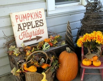 18x18 Pumpkins, Apples, Hayrides Fall Autumn Thanksgiving Porch Mantel Sign --  Hand Painted Wooden Sign