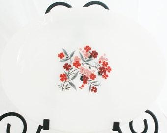 Platter - Oval Milk Glass Fire King Primrose Red White Black Print