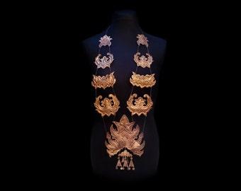 Vintage Indonesian Ceremonial Body Necklace, Torso Adornment, Sumatran Long Repousse Copper Bib, Incredible Bohemian Wearable Art, OoAK