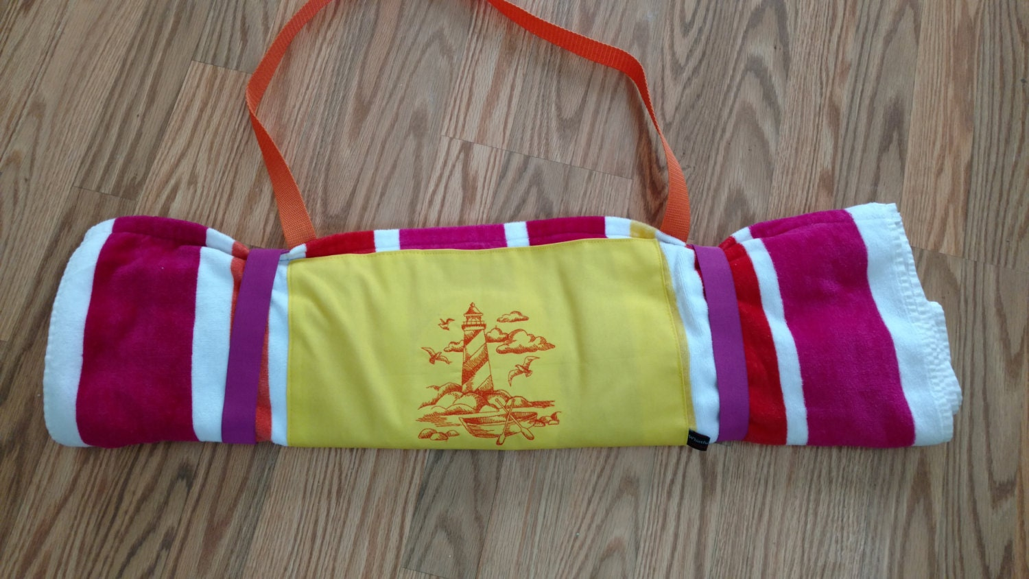 Embroidered Beach Towel Roll-Up by WhistfulWhimsy on Etsy