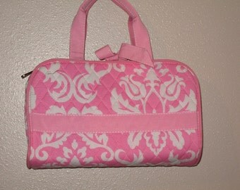 Personalized 3PIECE PINK & WHITE damask Cosmetic makeup Case
