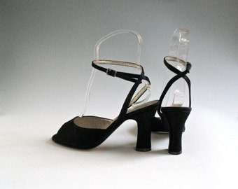 Vintage Peter Fox Black Silk Sandals, US Size 7, 1940's Style, Italian Made Shoes with 3 Inch Heels