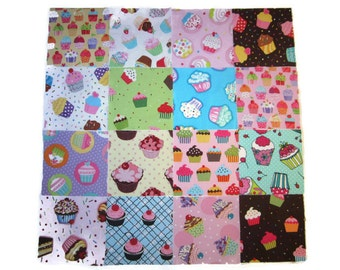 "Cupcake Fabric Scrap Pack, 5"" Fabric Squares , Cotton Fabric Scraps, Designer Cotton Fabric Scraps, Crafter's Scraps, 24 Squares"