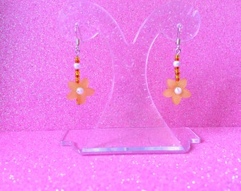 Earrings Orange and Yellow Rocaille Seed Bead and Orange Plastic Flower Drop Dangle Earrings by JulieDeeleyJewellery on Etsy Ladies Jewelry