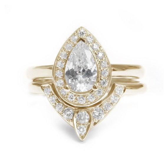 pear shaped moissanite engagement ring with by. Black Bedroom Furniture Sets. Home Design Ideas
