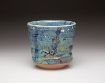 blue green turquoise  ceramic cup pottery tumbler