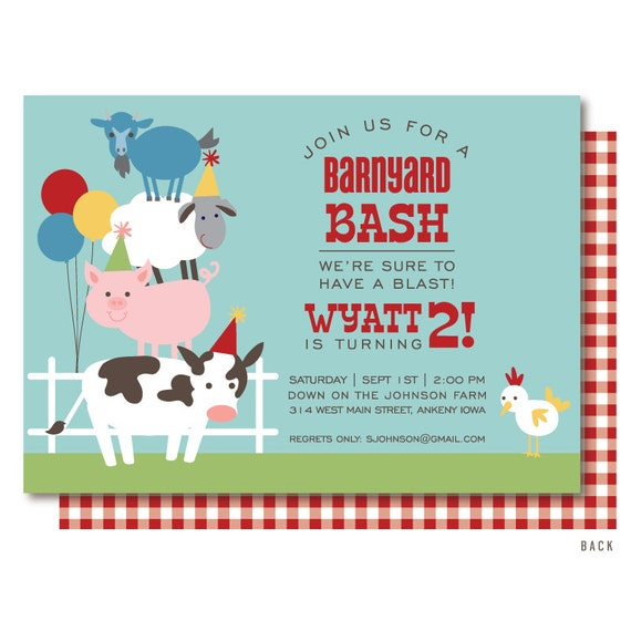 Farm Birthday Invitation Barnyard Birthday Invitation Farm