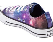 US Women's size 9.5 (Men's 7.5) Black Low Top Chucks - Converse Galaxy Theme