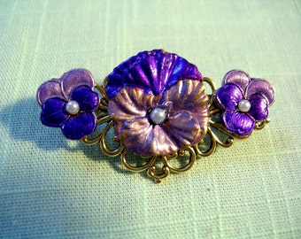 Pansy and Pearl Bar Pin. Hand Painted