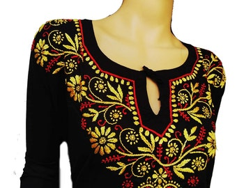 Gift for women oversized tunic black dress hand embroidered with silk flower embroidery designs kurta salwar kameez indian kurta pattern