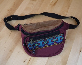 Vintage Red Aztec and Brown Suede Fanny Pack