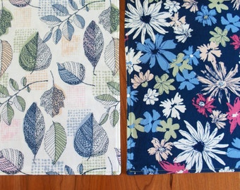 Navy Blue, Green and White Reversible Placemats with Leaves and Flowers, 4, 6 or 8, Cloth Table Mat, Art Gallery Sharon Holland Sketchbook