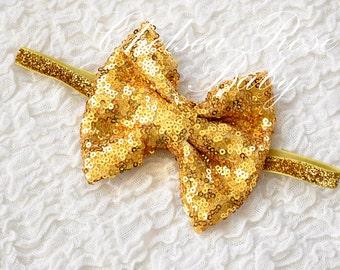 Gold Glitter Sequin Hair Bow, Gold Christmas headband, Gold Hair bow, Pink Glitter Hair bow, Pink Glitter headband