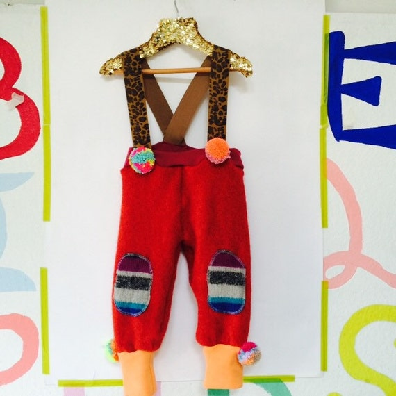 STROLL 3-4 Years Double Layer Kids Childrens Cashmere and Wool Dungarees with Pom Poms Upcycled Wool Unisex