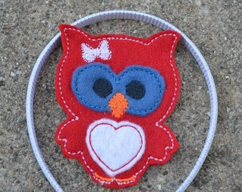 Owl Headband Slider,Red White and Blue Ready to Ship as Pictured