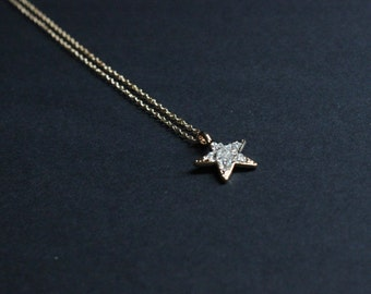 Star rhinestones necklace Dainty necklace Small pendant with delicate jewelry Star charm pendant Polar star necklace Universe pendant