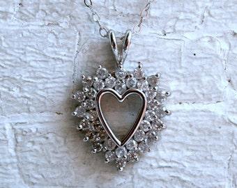 Wonderful Vintage Diamond Heart Pendant in 14K White Gold.