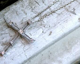 Pretty Vintage 14K White Gold Diamond Cross on 16 inch chain - 0.18ct