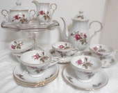 Vintage Moss Rose China Teapot, Sugar and Creamer, and 6 Teacups and Saucers, Tea Party Set