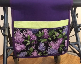 Walker Tote, Walker Caddy, Walker Bag, Purple Lilac Flowers, Gift for Her