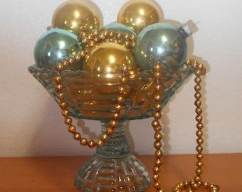 12 Vintage Mercury Glass Christmas Tree Ornaments, Shiny Brites, Aqua and Gold Shabby Chic Ornaments for Christmas Decor