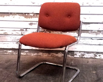 RESERVED Steelcase Chrome Cantilevered Chair Orange Vintage