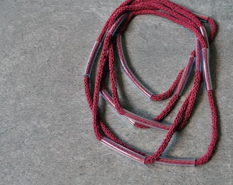 Modern fiber necklace / Tube and cotton necklace / Cranberry necklace / Knit cotton jewelry / Minimal necklace / Modern Fiber jewelry