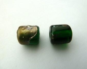 green barrel and silver shard lampwork bead pair UK