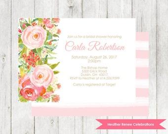 Watercolor Flower Bridal Shower Invitation | Boho Wedding Shower Invite | Bridal Brunch Printable