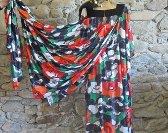 1970s black and red kaftan dress with paisley sequin yoke and long train