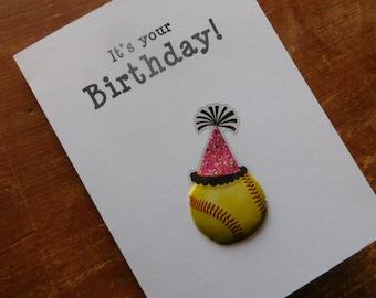 Softball Birthday Card - Birthday Handmade Greeting Card with softball embellishment